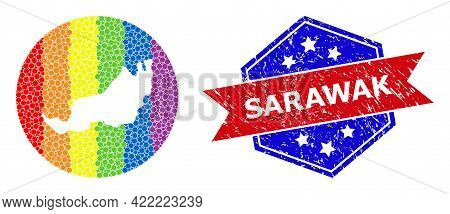 Dot Spectral Map Of Sarawak Mosaic Created With Circle And Stencil, And Grunge Seal Stamp. Lgbtq Spe