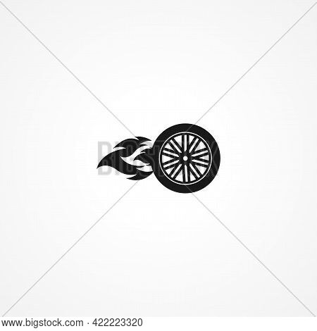 Car Wheel And Tire With Flames Simple Isolated Vector Icon. Car Wheel And Tire With Flames Simple Is