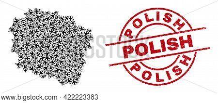 Polish Distress Badge, And Kuyavian-pomeranian Voivodeship Map Mosaic Of Aeroplane Items. Collage Ku
