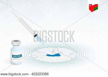 Covid-19 Vaccination In Oman, Coronavirus Vaccination Illustration With Vaccine Bottle And Syringe I