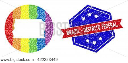 Pixelated Spectrum Map Of Brazil - Distrito Federal Collage Created With Circle And Cut Out Shape, A