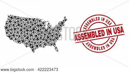 Assembled In Usa Rubber Seal Stamp, And United States Map Collage Of Airplane Elements. Collage Unit