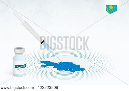 Covid-19 Vaccination In Kazakhstan, Coronavirus Vaccination Illustration With Vaccine Bottle And Syr