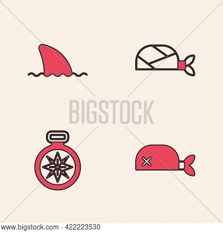 Set Pirate Bandana For Head, Shark Fin In Ocean Wave, And Compass Icon. Vector