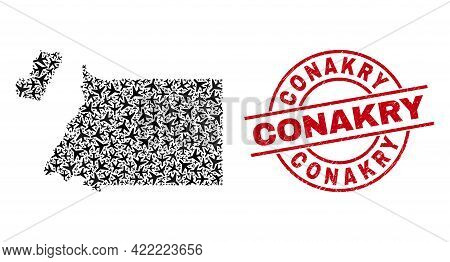 Conakry Scratched Seal, And Equatorial Guinea Map Collage Of Aeroplane Elements. Collage Equatorial