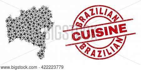 Brazilian Cuisine Rubber Seal Stamp, And Bahia State Map Collage Of Air Plane Items. Mosaic Bahia St
