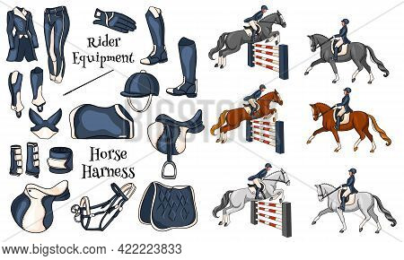 Big Set Of Equipment For The Rider And Ammunition For The Horse Rider On Horse Illustration In Carto