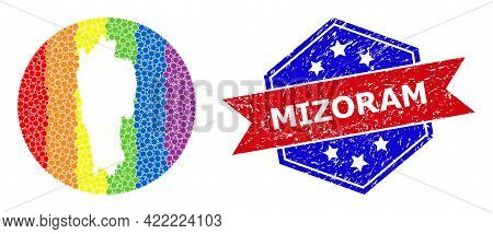 Dot Bright Spectral Map Of Mizoram State Mosaic Created With Circle And Cut Out Shape, And Scratched