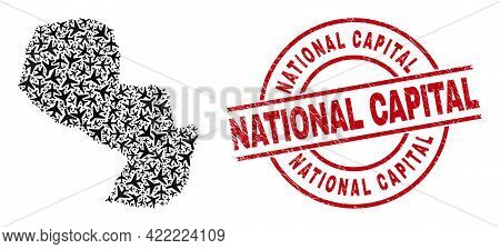 National Capital Distress Seal Stamp, And Paraguay Map Collage Of Air Plane Items. Collage Paraguay