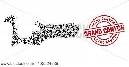 Grand Canyon Grunge Badge, And Grand Cayman Island Map Mosaic Of Aeroplane Elements. Mosaic Grand Ca