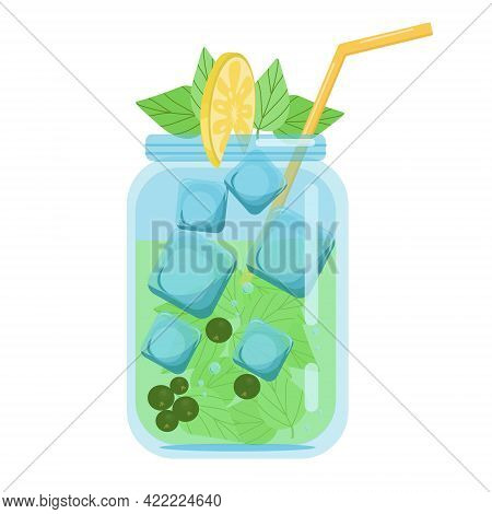 Soft Drinks, Fruit Cocktails Currants With Mint, Carbonated Soft Drink In A Glass Jar Decorated With