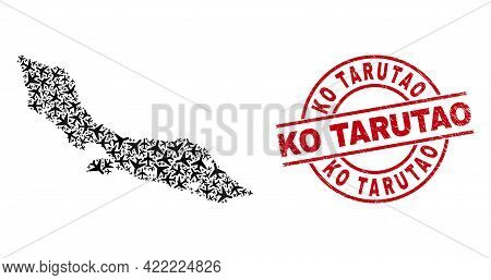 Ko Tarutao Grunge Seal Stamp, And Curacao Island Map Mosaic Of Jet Vehicle Items. Mosaic Curacao Isl