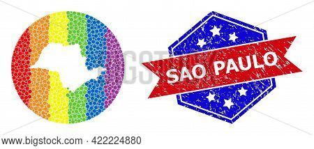 Pixelated Rainbow Gradiented Map Of Sao Paulo State Collage Created With Circle And Hole, And Scratc