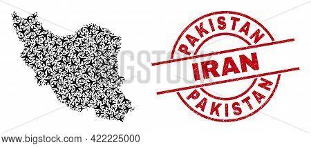 Pakistan Iran Textured Seal, And Iran Map Mosaic Of Jet Vehicle Elements. Mosaic Iran Map Constructe
