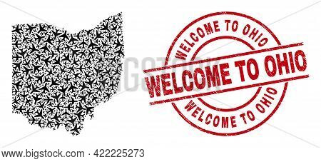 Welcome To Ohio Grunge Badge, And Ohio State Map Collage Of Airliner Items. Collage Ohio State Map D