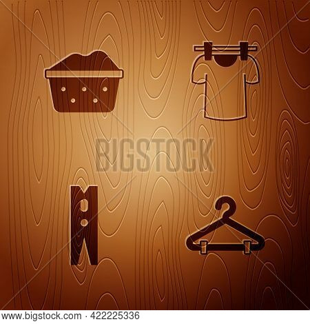 Set Hanger Wardrobe, Basin With Soap Suds, Clothes Pin And Drying Clothes On Wooden Background. Vect