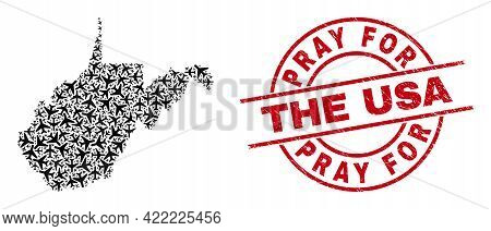 Pray For The Usa Rubber Stamp, And West Virginia State Map Mosaic Of Jet Vehicle Items. Collage West