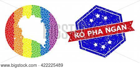 Pixelated Rainbow Gradiented Map Of Ko Pha Ngan Collage Created With Circle And Subtracted Shape, An