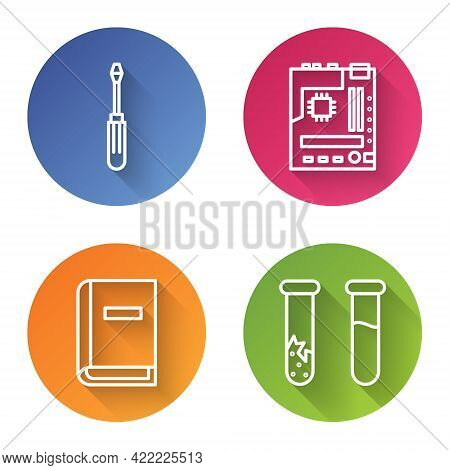 Set Line Screwdriver, Motherboard, User Manual And Test Tube And Flask. Color Circle Button. Vector