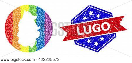 Pixel Bright Spectral Map Of Lugo Province Collage Designed With Circle And Cut Out Shape, And Grung