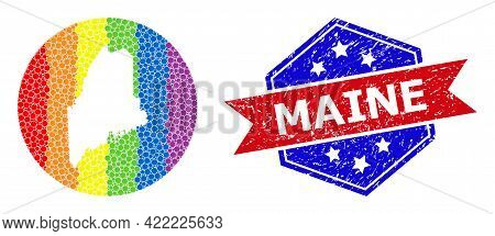 Pixel Spectrum Map Of Maine State Mosaic Designed With Circle And Hole, And Textured Seal. Lgbt Spec