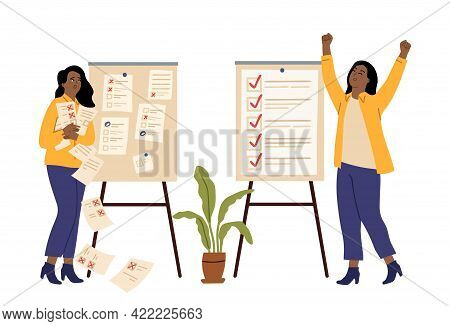 Successful Time Management. Failed Plans Or Task. Angry And Happy Women, Checklist. Managers Lists,