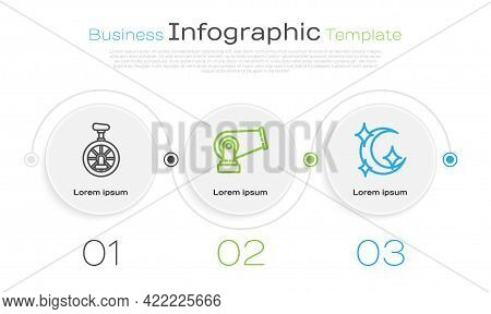 Set Line Unicycle Or One Wheel Bicycle, Cannon And Moon And Stars. Business Infographic Template. Ve