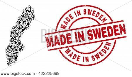 Made In Sweden Distress Stamp, And Sweden Map Mosaic Of Airplane Items. Mosaic Sweden Map Designed U