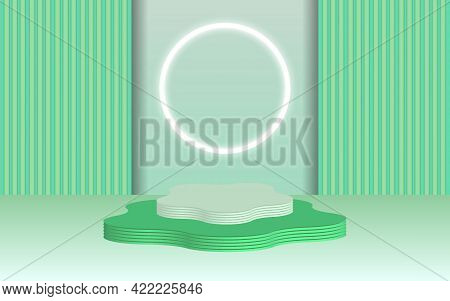 Background Vector 3d Green Rendering With Podium And Minimal Greeen Wall Scene, Minimal Abstract Bac