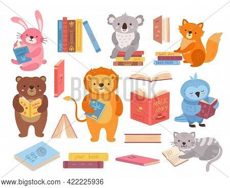 Cute Animals With Books. Animal Read, Book Stacks. School Study Characters, Bird Rabbit Bear In Libr
