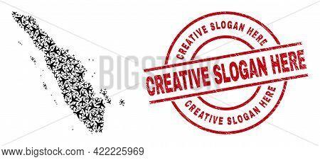 Creative Slogan Here Distress Stamp, And Sumatra Map Collage Of Air Force Items. Mosaic Sumatra Map