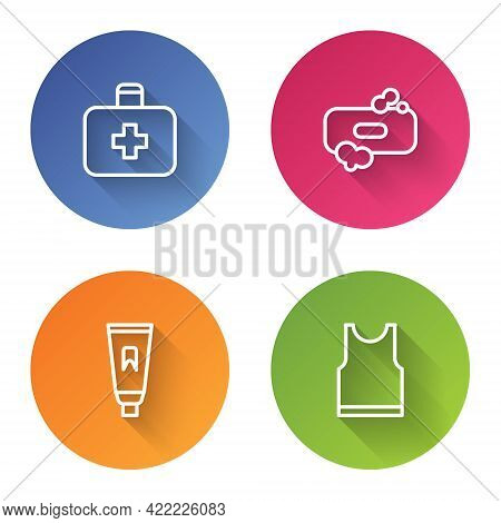 Set Line First Aid Kit, Bar Of Soap, Tube Toothpaste And Sleeveless T-shirt. Color Circle Button. Ve