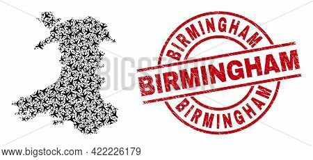 Birmingham Rubber Seal Stamp, And Wales Map Collage Of Aircraft Items. Collage Wales Map Created Wit