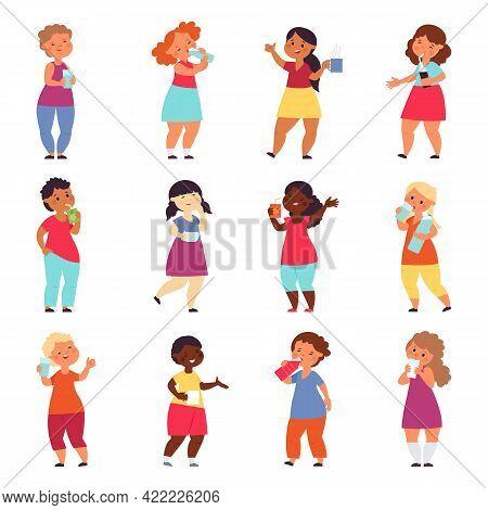 Kids Drinks. Refreshing Drink, Drinking Water Tea Juice. Girls Boys Hold Glass. Cartoon Child With M