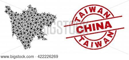 Taiwan China Rubber Seal, And Sichuan Province Map Mosaic Of Airplane Items. Mosaic Sichuan Province