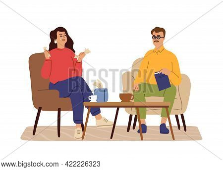 Female Crying At Psychotherapist. Depression, Therapy Support. Woman Need Professional Help Psychoth