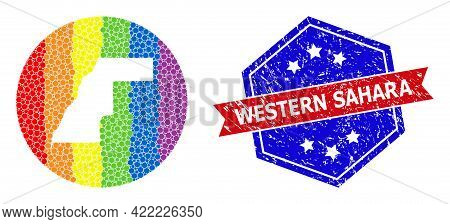 Pixel Rainbow Gradiented Map Of Western Sahara Mosaic Created With Circle And Stencil, And Distress