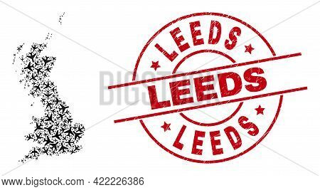 Leeds Rubber Seal Stamp, And Great Britain Map Mosaic Of Air Force Elements. Collage Great Britain M