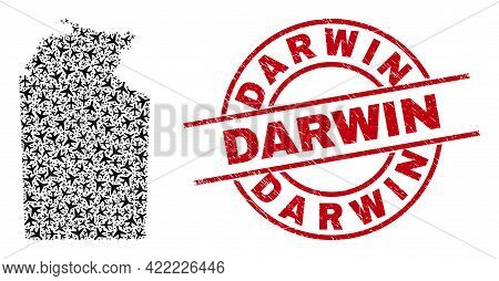 Darwin Grunge Seal Stamp, And Australian Northern Territory Map Collage Of Aviation Elements. Collag