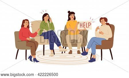 Support Group. Depression, Supports Therapy With Psychotherapist. Helping Network, Female Problems A