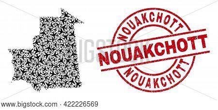 Nouakchott Rubber Badge, And Mauritania Map Mosaic Of Air Plane Items. Mosaic Mauritania Map Created