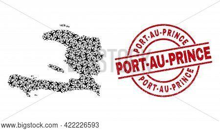 Port-au-prince Scratched Badge, And Haiti Map Mosaic Of Aeroplane Elements. Mosaic Haiti Map Designe