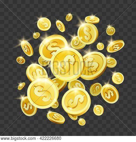 Cash Splash. Abstract Roulette Gold Explosive Dollars, Poker 3d Coins, Bet Winner Flying Money, Bing