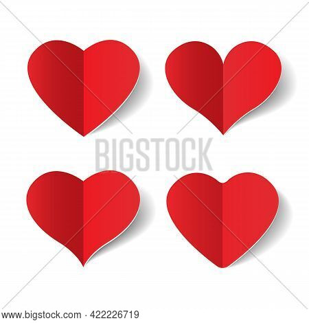 Paper Folded Hearts. Lovely Happiness Abstract Signs, Couple Card Design Vector Cutout Love Signs, C