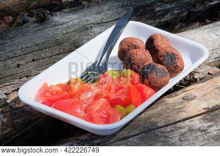 Fresh Falafel Balls On A Wooden Background, Selective Focus. Vegetarian Dish.