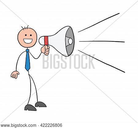 Stickman Businessman Character Announcing Using A Megaphone, Vector Cartoon Illustration. Black Outl