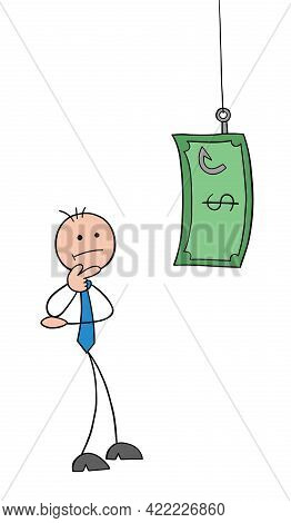 Stickman Businessman Character Confused About Fishing Rod And Dollar Money Bait, Vector Cartoon Illu