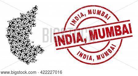 India, Mumbai Rubber Stamp, And Karnataka State Map Collage Of Airplane Elements. Collage Karnataka