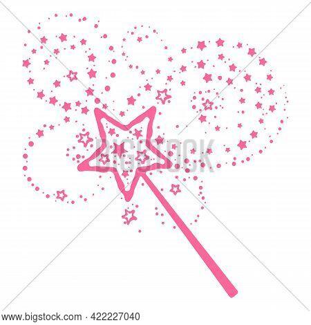 Princess Wand. Pink Magician Baton, Sparkling Rod Vector Graphic Illustration, Dream Maggic Shine Ba