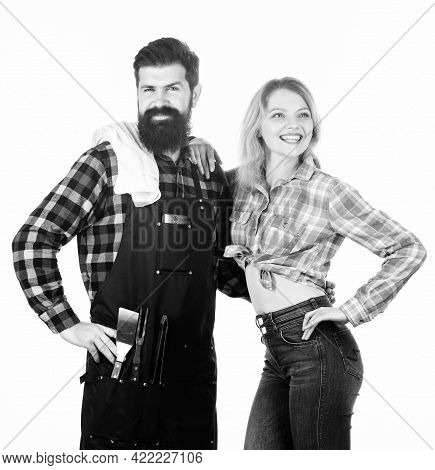 Picnic And Barbecue. Man Bearded Hipster And Girl Ready For Barbecue White Background. Backyard Barb